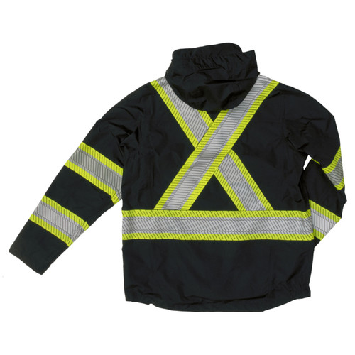 Work King Safety Class 1 Enhanced Vis Black Two-Tone X-Back Rain Jacket SJ05-BLK Back
