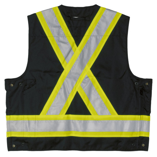 Work King Safety Class 1 Enhanced Vis Black Two-Tone X-Back Safety Vest S313BLK Back