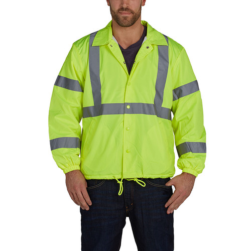 Utility Pro Class 2 Hi Vis Yellow Nylon Windbreaker with Teflon Protector UHV600 Front