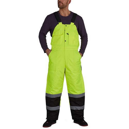 Utility Pro Non-ANSI Hi Vis Yellow Lined Bib Overalls with Teflon Protector UHV500 Front