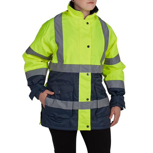 Utility Pro Class 2 Hi Vis Yellow Navy Bottom Ladies Parka with Teflon Protector UHV664 Front