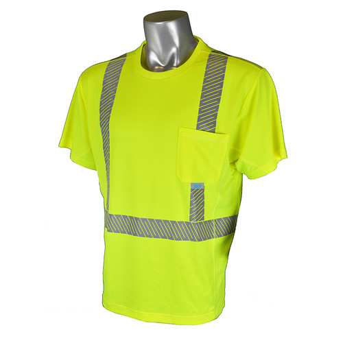 Radians Class 2 Hi Vis Green Arctic Radwear T-Shirt with Segmented Tape ST31-2PGS Front