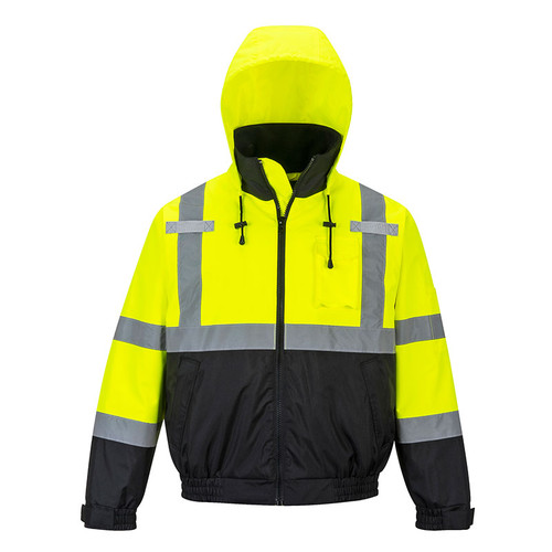 PortWest Class 3 High Visibility 2-in-1 Bomber Jacket US364 Front Hood