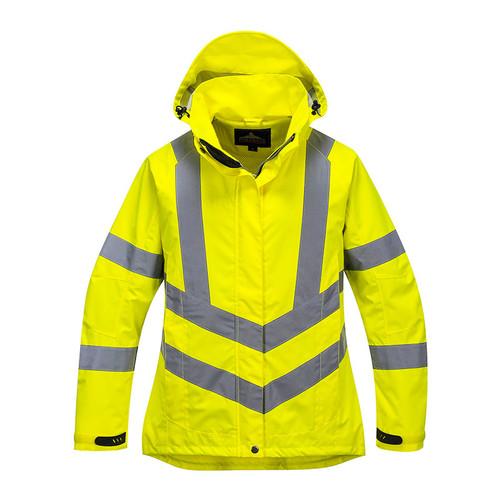 PortWest Class 3 Hi Vis Yellow Ladies Breathable Jacket LW70 Front
