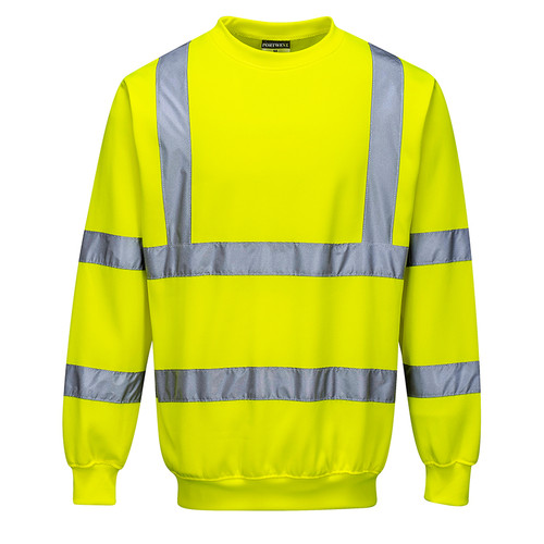PortWest Class 3 Hi Vis Yellow Crew Neck Sweatshirt B303 Front