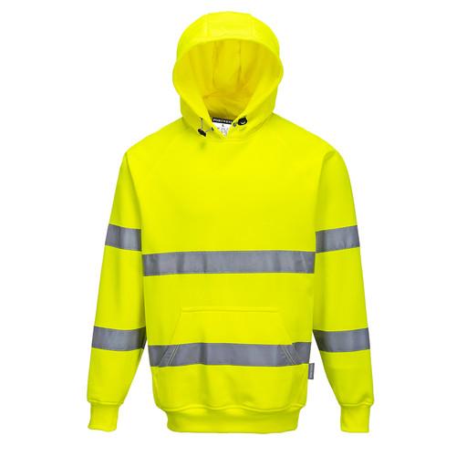 PortWest Class 3 Hi Vis Yellow Hooded Sweatshirt B304