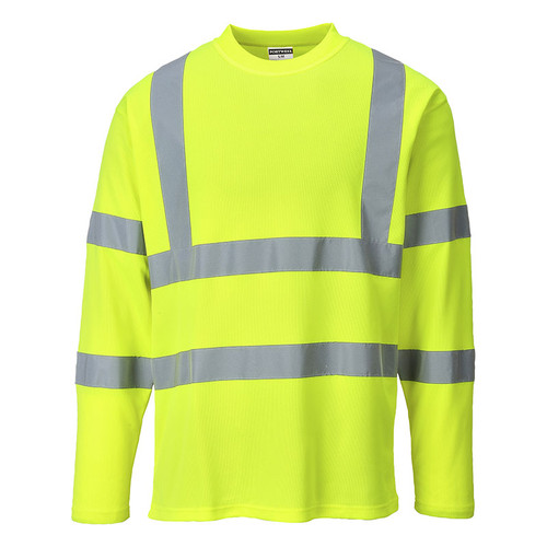 PortWest Class 3 Hi Vis Cotton Comfort Long Sleeve T-Shirt S278 Yellow