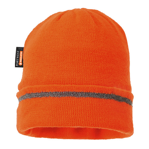 PortWest Reflective Trim Visibility Insulatex Lined Knit Hat B023-HV Orange