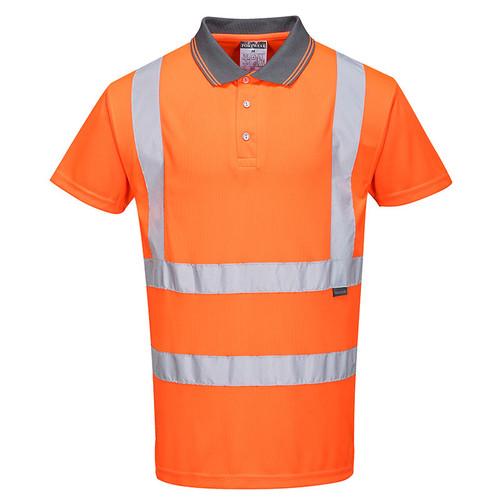 PortWest Class 2 Hi Vis Orange Moisture Wicking Short Sleeve Polo RT22 Front
