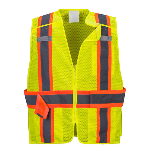 PortWest Class 2 Hi Vis Yellow Expandable Mesh 4-Point Breakaway Vest US385 Front