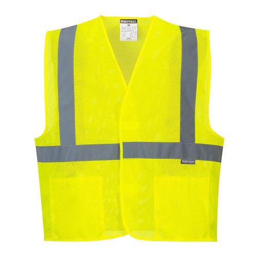 PortWest Class 2 Hi Vis Yellow Economy Mesh Vest UC492 Front