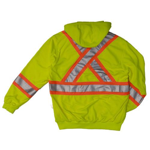 Work King Safety Class 2 Hi Vis X-Back Fluorescent Green Zip-Up Fleece Hoodie S494FLGR Back
