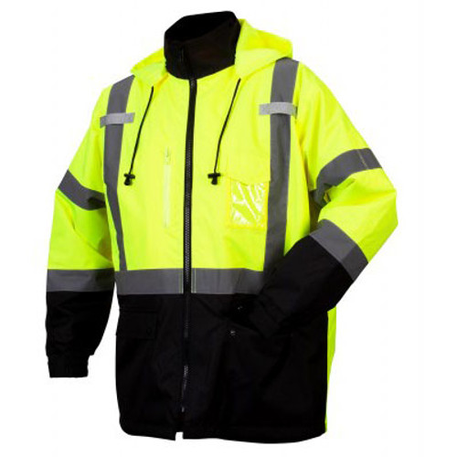 Pyramex Class 3 Hi Vis Lime Black Bottom 2-in-1 Parka RP3110 Front
