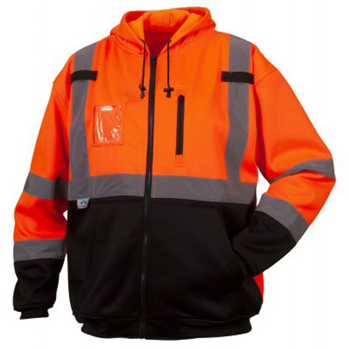 Pyramex Class 3 Hi Vis Orange Black Bottom Teflon Treated Zipper Sweatshirt RSZH3320 Front