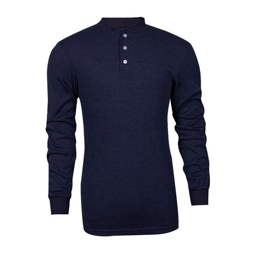 TECGEN FR Select Moisture Wicking Navy Blue Henley C541NNBBSLS