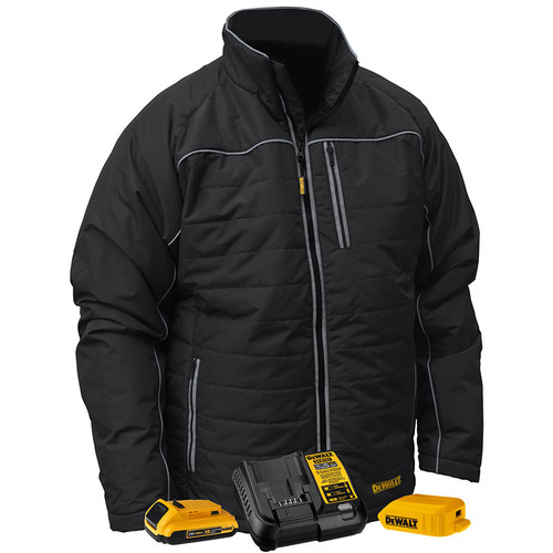 DeWALT Heated Quilted Black Work Jacket Kit DCHJ075D1 Kit