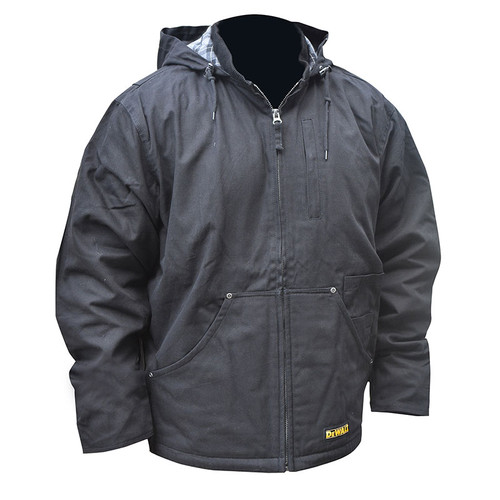 DeWALT Heated Heavy Duty Black Work Jacket with Adapter DCHJ076ABB Front