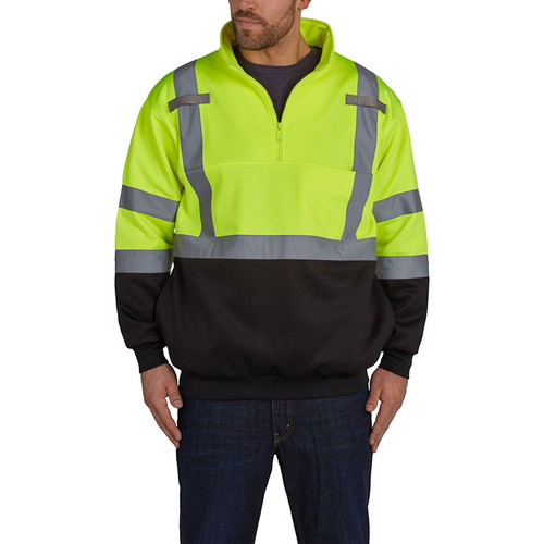 Utility Pro Class 3 Hi Vis Yellow Black Bottom 1/4 Zip Pullover with Teflon Protector UPA542 Front