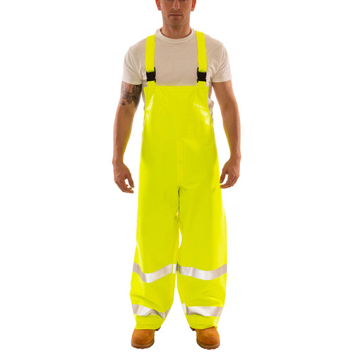 Tingley FR Class E Hi Vis Yellow Eclipse Rain Overalls O44122 Front
