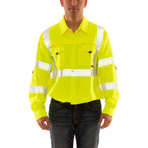 Tingley Class 3 Hi Vis Yellow Button Up Longsleeve Sportsman Job Sight Shirt with Segmented Tape S76522 Front