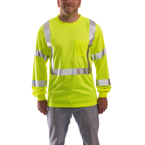 Tingley Class 3 Hi Vis Yellow Moisture Wicking Job Sight Long Sleeve T-Shirt S75522 Front