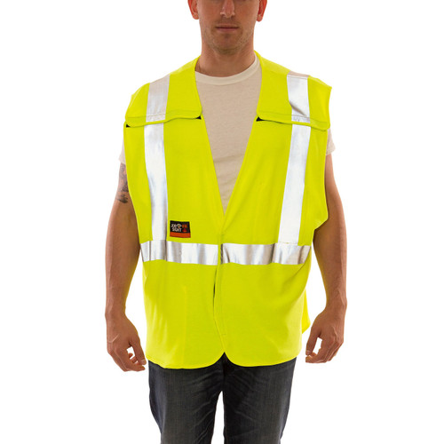 Tingley FR Class 2 Hi Vis Yellow Job Sight Breakaway Safety Vest V81522 Front