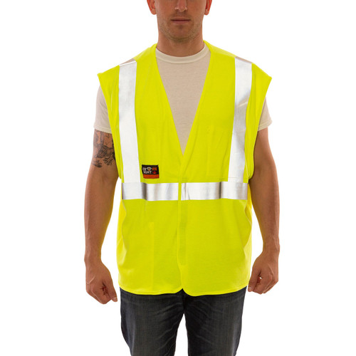 Tingley FR Class 2 Hi Vis Yellow Job Sight Safety Vest V81622 Front