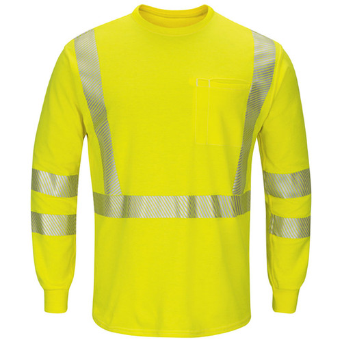 Bulwark FR Class 3 Hi Vis Yellow Long Sleeve T-Shirt with Segmented Tape SMK8HV Front