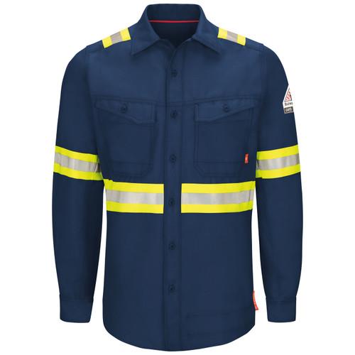 Bulwark FR iQ Endurance Enhanced Visibility Navy Work Shirt QS40NE Front