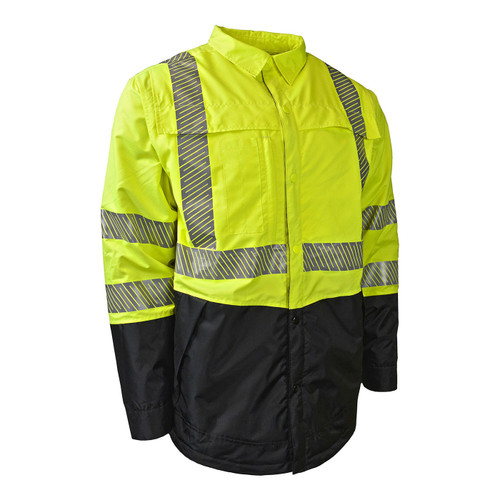 Radians Class 3 Hi Vis Green Black Bottom Rip-Stop Quilted Wind Shirt SJ03-3SGR Front