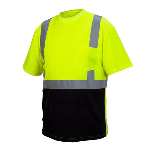 Pyramex Class 2 Hi Vis Lime Black Bottom Moisture Wicking T-Shirt RTS2110B Front