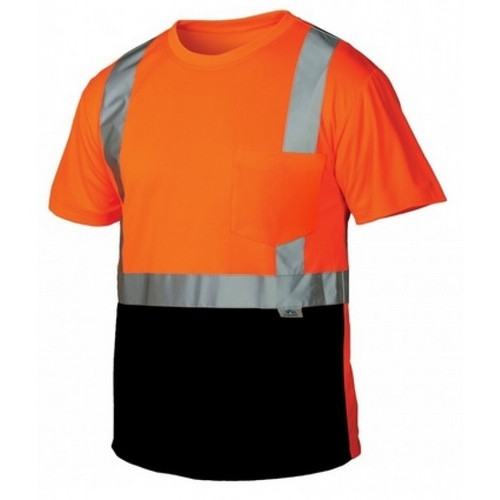 Pyramex Class 2 Hi Vis Orange Black Bottom Moisture Wicking T-Shirt RTS2120B Front