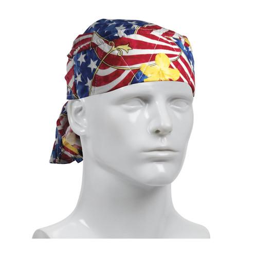 PIP Bag of 10 EZ-Cool Patriotic Flag Evaporative Cooling Tie Hats 396-300-PAT-BAG