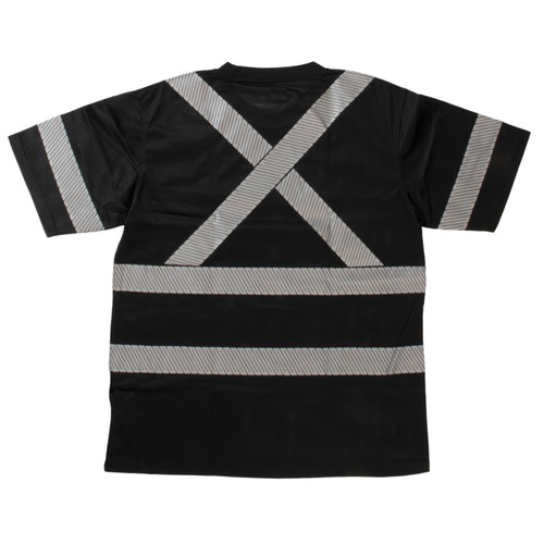 Work King Class 1 X-Back Black T-Shirt with Pocket and Segmented Tape ST071-BLK Back