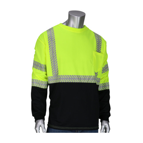 PIP Class 3 Hi Vis Yellow Black Bottom Insect Repellent LS T-Shirt and 50+ UPF Protection 313-1375B