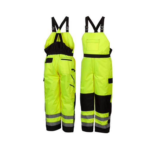 Pyramex Class E Hi Vis Lime Black Bottom Trim Winter Insulated Bib Pants RWB4610 Front/Back