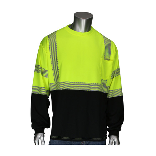 PIP Class 3 Hi Vis Yellow Black Bottom Long Sleeve T-Shirt with Segmented Tape 313-1280B Front