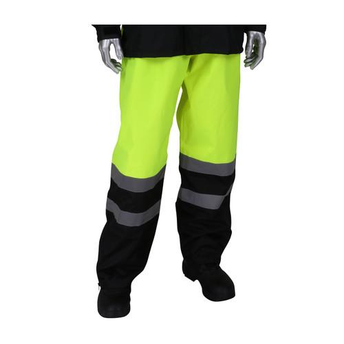 PIP Class E Hi Vis Ripstop Black Bottom Rain Pants 353-1202 Yellow