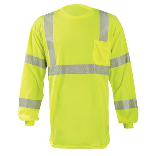 Occunomix Class 3 Hi Vis Long Sleeve T-Shirt with Segmented Tape and Chest Pocket LUX-TLSP3B Yellow Front