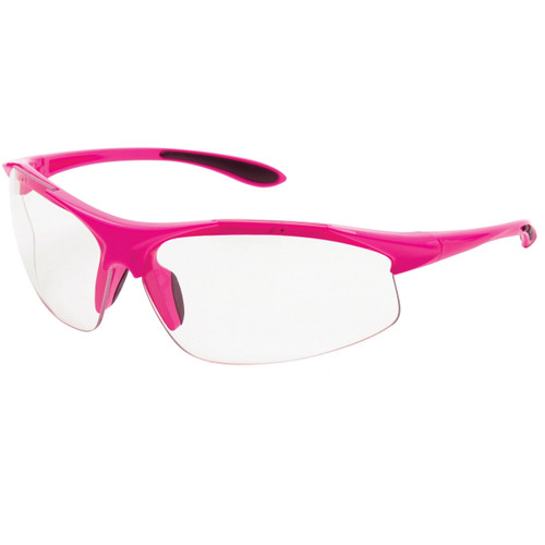 Girl Power at Work Box of 12 Pink Frame Clear Anti-Fog Lens Ladies Safety Glasses 18620
