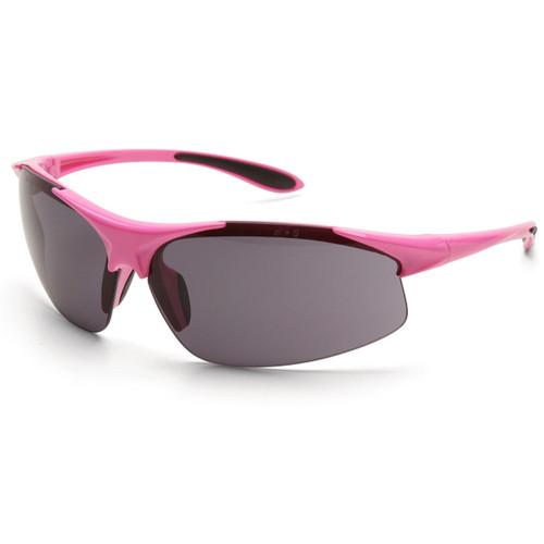 Girl Power at Work Box of 12 Pink Frame Gray Anti-Fog Lens Ladies Safety Glasses 18621