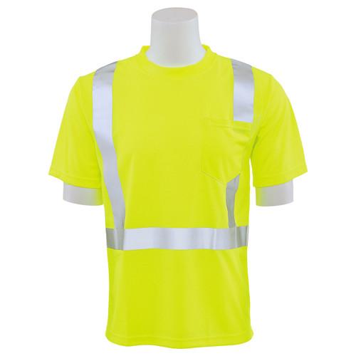 ERB Class 2 Hi Vis Lime Moisture Wicking T-Shirt 9006S-L Front