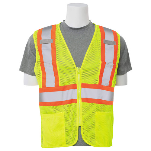 ERB Class 2 Hi Vis Lime Two-Tone Mesh Safety Vest with Zipper Front S383P-L Front
