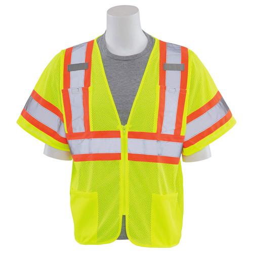 ERB Class 3 Hi Vis Lime Two-Tone Mesh Safety Vest S683P-L Front