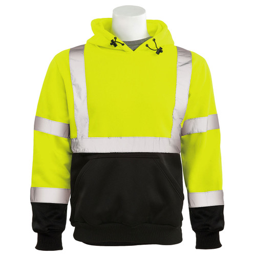 ERB Class 3 Hi Vis Lime Black Bottom Pullover Hooded Sweatshirt W376B-L Front