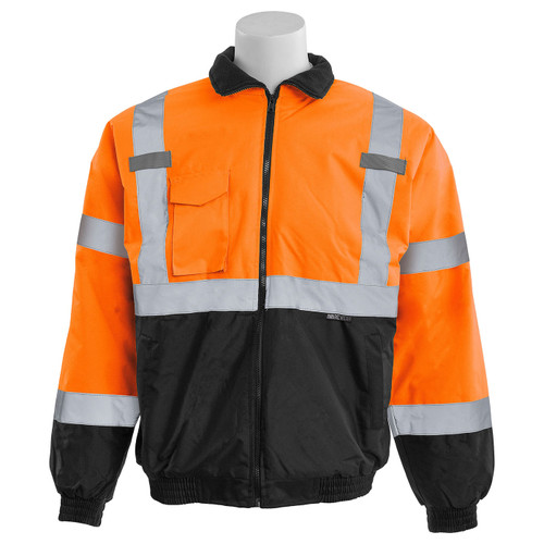 ERB Class 3 Hi Vis Orange Black Bottom Bomber Jacket W105-O Front