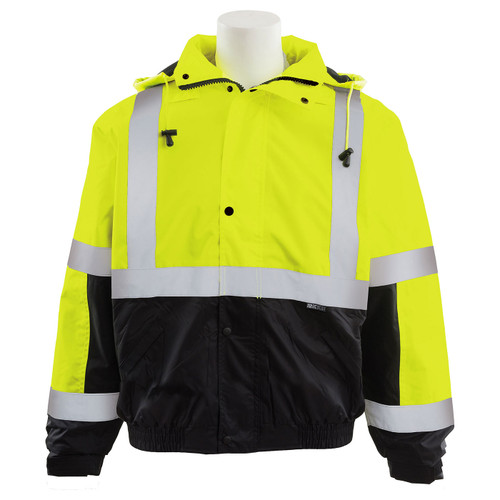 ERB Class 3 Hi Vis Lime Black Bottom Bomber Jacket with Storm Flap and Hood W106-L Front