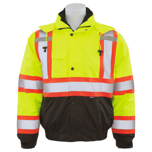 ERB Class 3 Hi Vis Lime Two-Tone Black Bottom 3-in-1 Bomber Jacket W550 Front