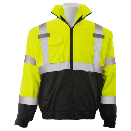 ERB Class 3 Hi Vis Lime Black Bottom 3-in-1 Bomber Jacket W530B Front