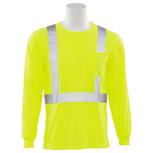 ERB Class 2 Hi Vis Lime Moisture Wicking Long Sleeve T-Shirt 9602S-L Front